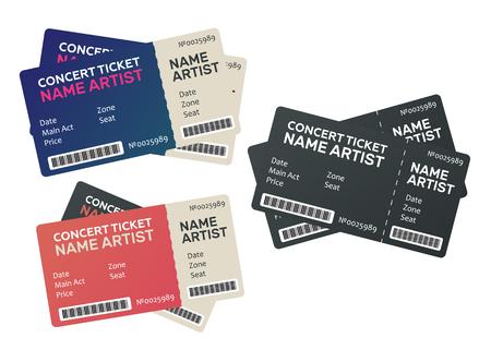Illustration pour Vector paper ticket. Music, Dance, Live Concert tickets templates - image libre de droit