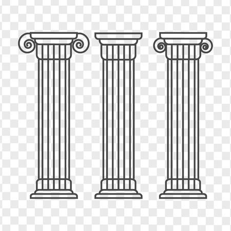 Illustration pour Greek and roman pillar. Outline vector pillar illustration. Architecture greek column icon - image libre de droit
