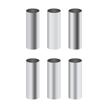 Ilustración de Chrome metal polished gradients corresponding to cylinder pipe vector set - Imagen libre de derechos