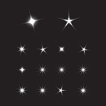 Illustration pour Shiny sun set rays. Glowing stars background. Sparkle star bright sign - image libre de droit
