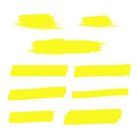Illustration for Yellow highlight marker lines. Highlighter strokes vector. Marker marks - Royalty Free Image