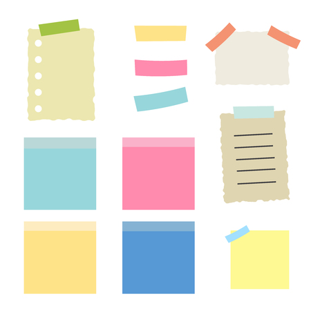 Illustration pour Colored sheets of note papers vector illustration. Multicolor post it notes isolated - image libre de droit