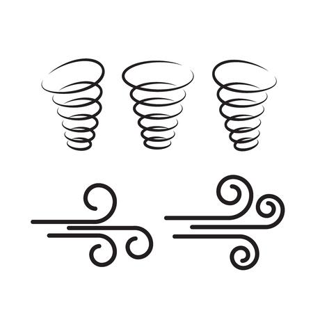 Illustration pour Wind icons nature, wave flowing, cool weather, climate and motion, vector illustration - Vector  - image libre de droit