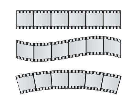 Illustration for Slide film frame set. Film reel and roll 35mm vector - Royalty Free Image