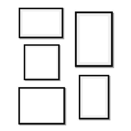 Illustration pour Frame Design. Frame for picture. Set of black blank photo frames - image libre de droit