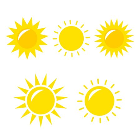 Illustration for Sun Vector icon. Sun Vector doodle illustration. Sun Vector icon yellow set - Royalty Free Image
