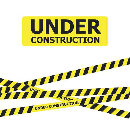 Illustration for Under construction website page. Under construction warning banner - Royalty Free Image