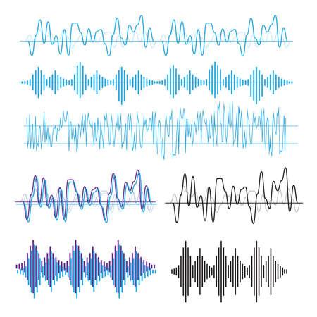 Illustration pour Sound waves sign and symbol in flat style - image libre de droit