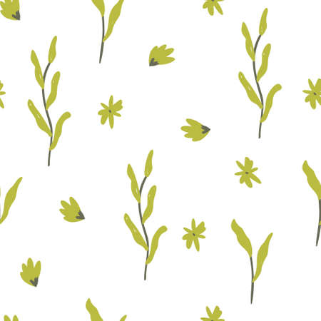 Illustration pour seamless floral pattern with mini green flowers vector illustration. Good for, fabric, card, stationary, wallpaper, wrapping paper, textile. - image libre de droit