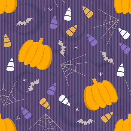 Illustration pour seamless halloween element pattern background with pumpkin and candy - image libre de droit