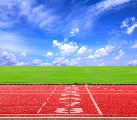Start or finish position on running track with blue sky2