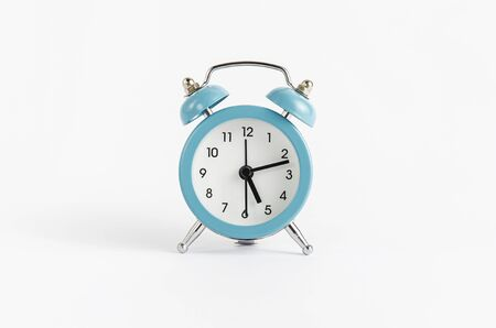 Photo for Blue alarm clock on white background. Time and deadline concept - Royalty Free Image