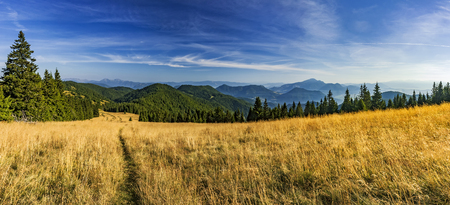 View of summer panorama landscape Slovak from mountains Big Fatra