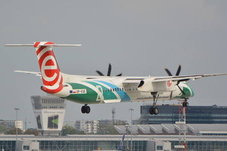 This is a view of Eurolot plane Bombardier Dash 8 Q400 registered as SP-EQE in special painting on the Warsaw Chopin Airport. September 16, 2015, Warsaw, Poland.