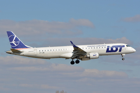 This is a view of LOT - Polish Airlines Embraer ERJ 190 plane registered as SP-LNE on the Warsaw Chopin Airport. March 16, 2016. Warsaw, Poland.