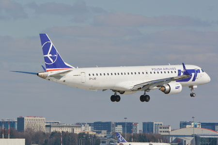This is a view of LOT - Polish Airlines Embraer ERJ 190 plane registered as SP-LND on the Warsaw Chopin Airport. March 16, 2016. Warsaw, Poland.