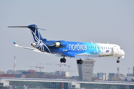 This is a view of Nordica Airline plane Canadair CL-600 registered as ES-ACB on the Warsaw Chopin Airport. April 1, 2018. Warsaw, Poland.