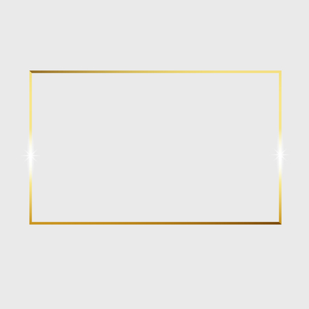Ilustración de Gold shiny glowing vintage frame isolated on transparent background. Vector border illustration engraved ink art. - Imagen libre de derechos