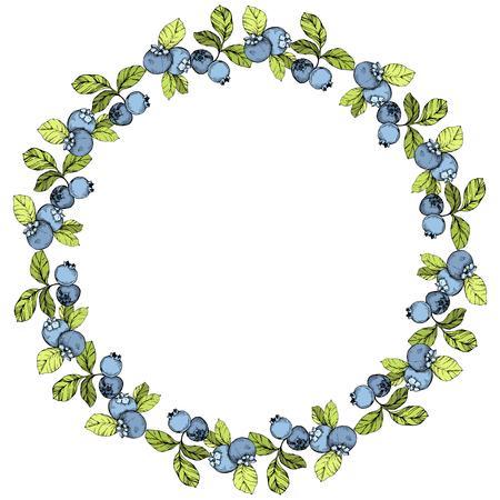 Illustration pour Vector Blueberry blue and green engraved ink art. Berries and green leaves. Leaf plant botanical garden floral foliage. Frame border ornament square. - image libre de droit