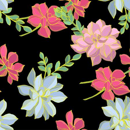 Illustration pour Vector Jungle botanical succulent flower. Wild spring leaf isolated. Engraved ink art illustration. Seamless background pattern. Fabric wallpaper print texture. - image libre de droit