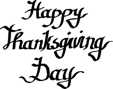 Illustration pour Vector Happy thanksgiving day handwriting monogram calligraphy. Black and white engraved ink art isolated. - image libre de droit