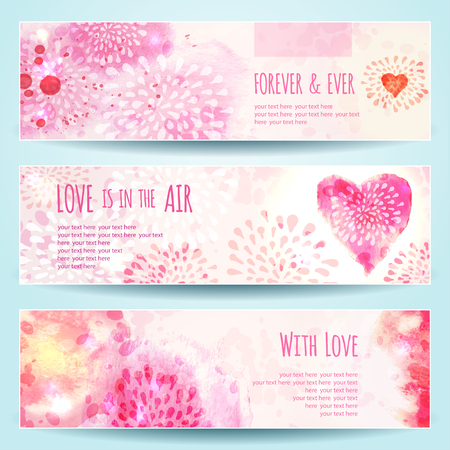 Set of Watercolor Banners with Hearts. Vector illustration, eps10