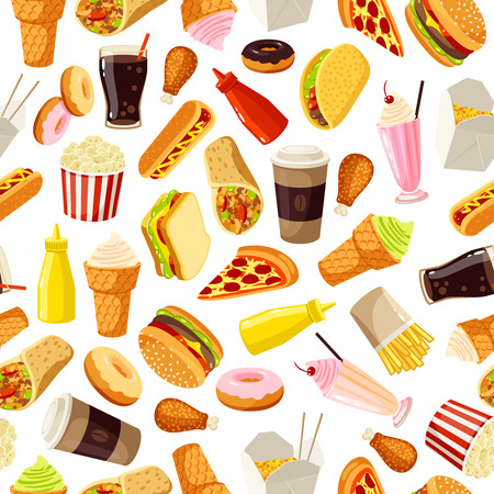 Seamless pattern with cartoon fast food. Vector illustration, .