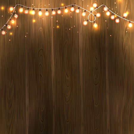 Christmas & New Year design: wooden background with christmas lights garland. Vector illustration,のイラスト素材