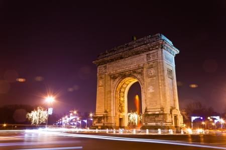 Photo pour Arc De Triomphe in the night, Bucharest, Romania - image libre de droit