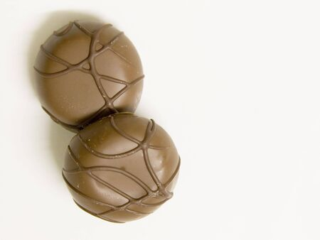 Two chocolates on a white plate