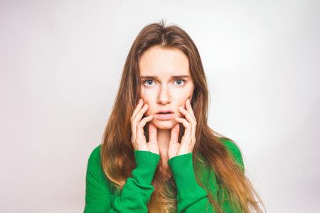 Photo pour Scarred woman touch face. Skincare - image libre de droit