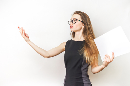 Photo for Woman repetition speech,in a black dress and glasses - Royalty Free Image