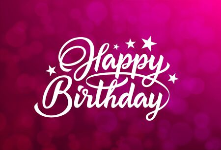 Happy Birthday White Hand Lettering Inscription On Red Background Ready Text For Use In Print Design Inscription On Bokeh Background Royalty Free Vector Graphics