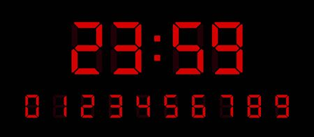Illustration pour Digital clock number set. Electronic figures for interface design different types of devices. Vector illustration. - image libre de droit