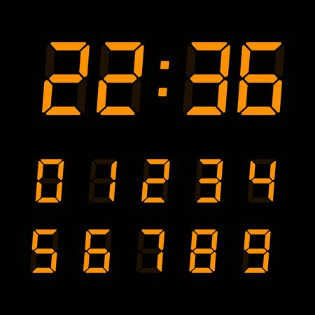 Illustration pour Orange digital numbers set isolated on black background. Vector electronic figures for interface design. - image libre de droit