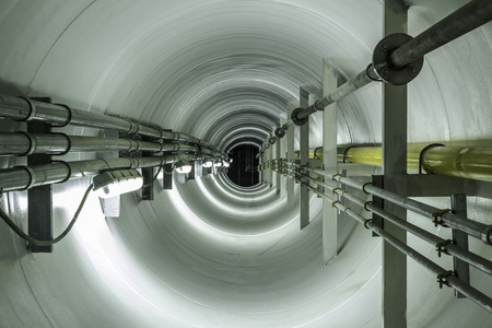 Underground tunnel connecting the pipes from the old plant to the new plant for transport gas and electrical line