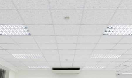 Ceiling and lighting inside office building.