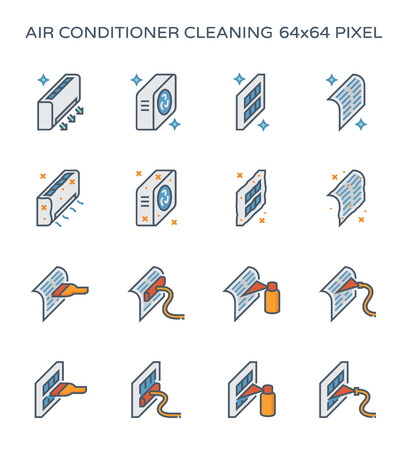 Air conditioner and air compressor cleaning icon set, 64x64