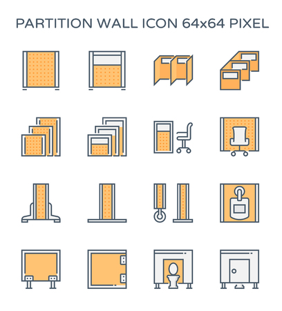 Partition wall or divide space equipment icon set, 64x64 perfect