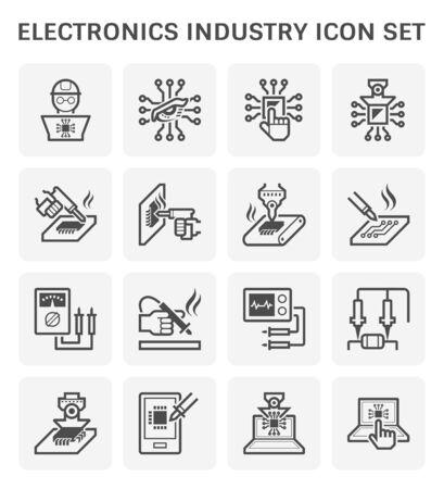 Illustration pour Electronics industry technogy, computer chip processor and circuit board vector icon set design, editable stroke and adjustable. - image libre de droit