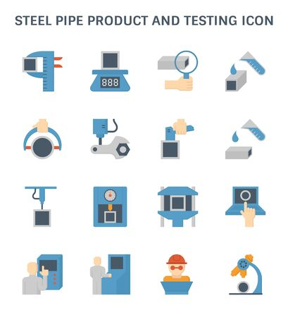 Illustration pour Steel pipe product and testing vector icon design. - image libre de droit