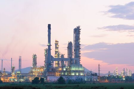 Photo for Oil refinery factory at processing work at twilight - Royalty Free Image