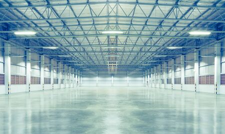 Photo pour Factory background with concrete floor, night scence. - image libre de droit