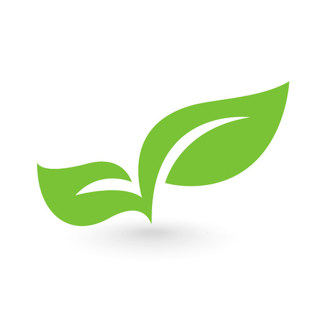 Abstract leafs care vector logo icon. Eco icon with green leafのイラスト素材