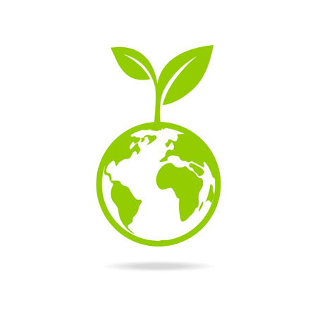 Illustration pour Green leafs and globe Eco icon, mockup save planet . - image libre de droit