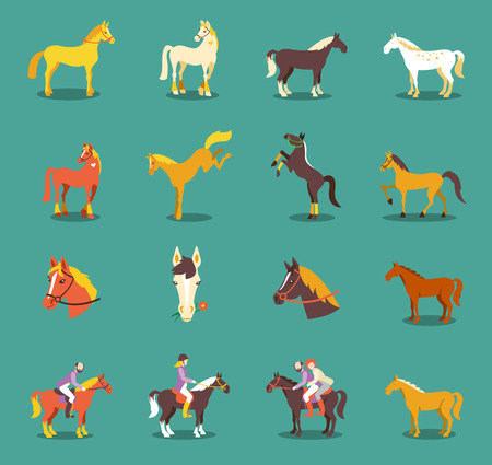 Illustration pour Group of the horses isolated on the blue background. Cute cartoon horse farm animals. - image libre de droit