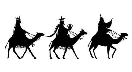 Illustration pour Illustration of the three magi on the way to Jesus. - image libre de droit