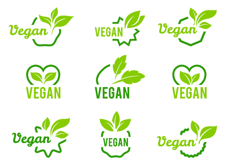 Illustration for Vegan icon. Set of badges, emblems and stamps vector. Abstract leaf set isolated on white background. - Royalty Free Image