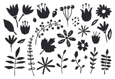 Illustration for Collection of graphic elements flowers, plants. Cute and modern wallpaper, web background, fabric and packaging design. Contemporary collage design elements. - Royalty Free Image