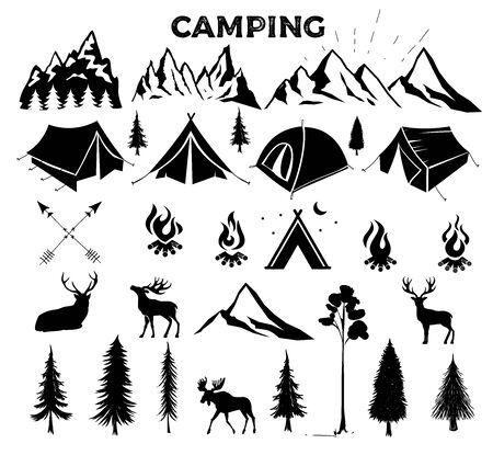 Illustration pour Travel Event. Camping vector logo template for your design. Tourist tent, forest, camp, trees, Camp badges, labels, banners, brochures. Set of vintage camping, outdoor adventure emblems. - image libre de droit